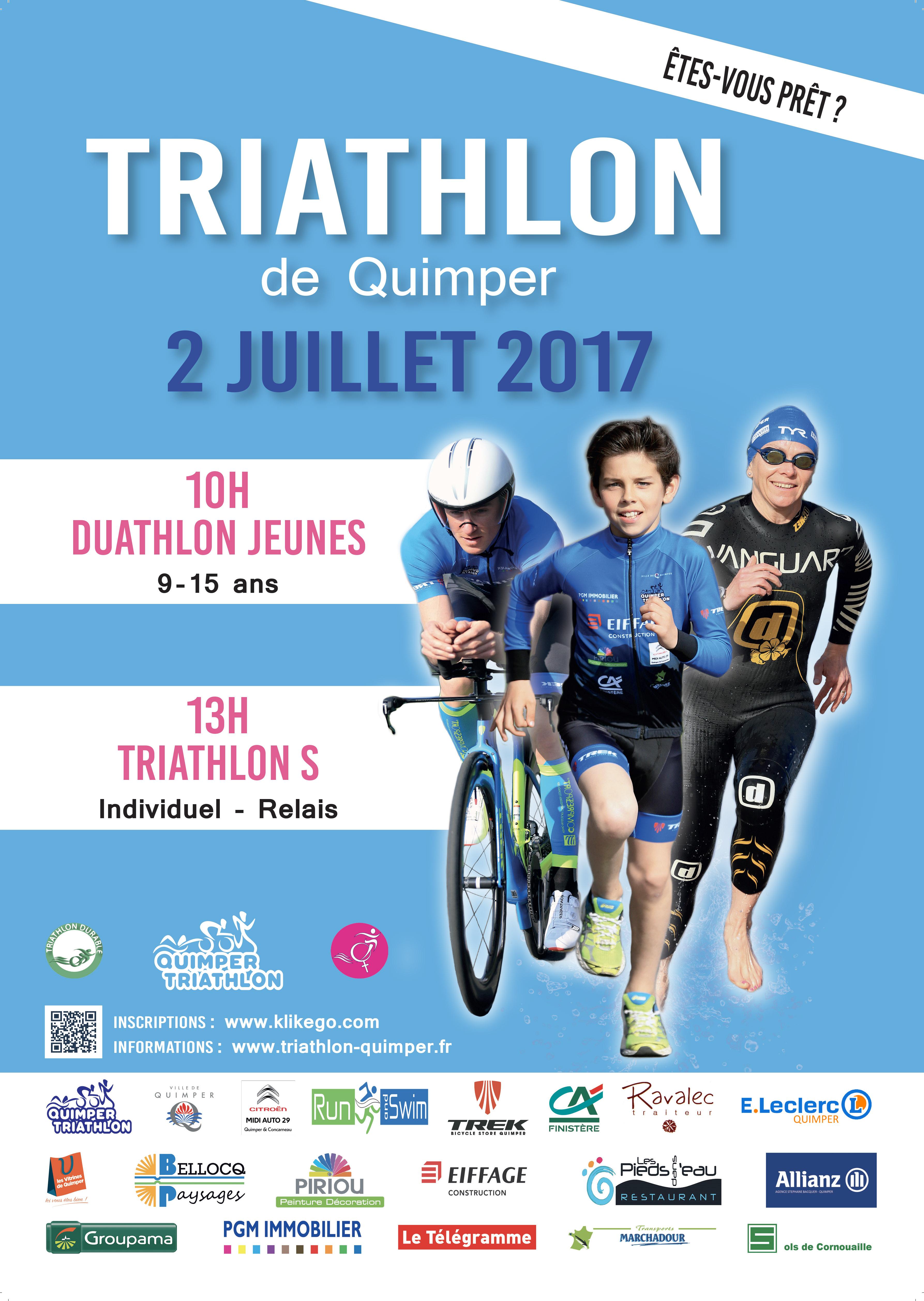 Triathlon de Quimper le 2 juillet 2017 (cliquez)