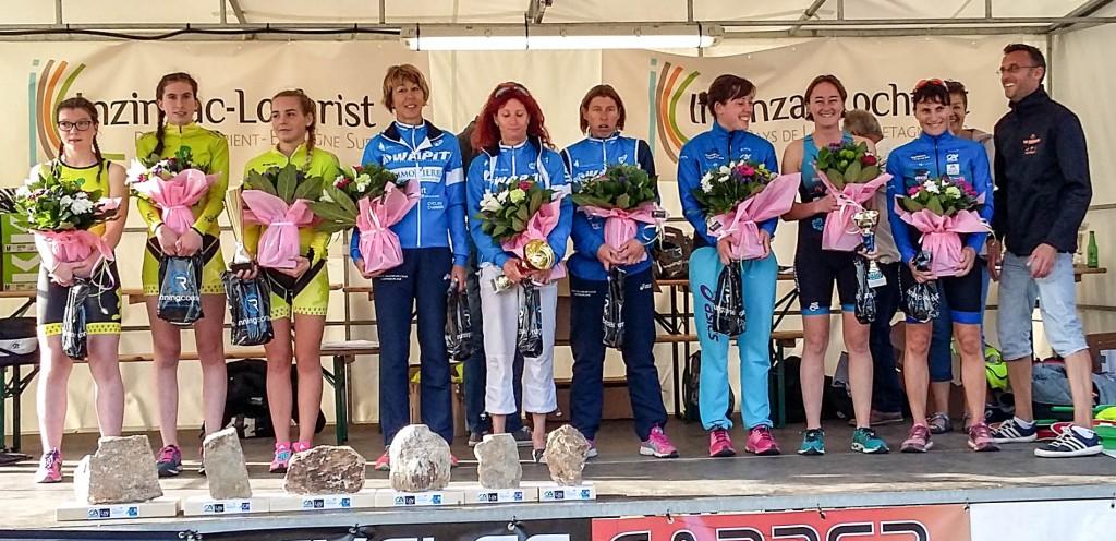 Tri-relais du Blavet (format XS). Inzinzac-Lochrist. Dimanche 25 septembre 2016. (Podium des équipes féminines. Quimper triatlhon 3e).
