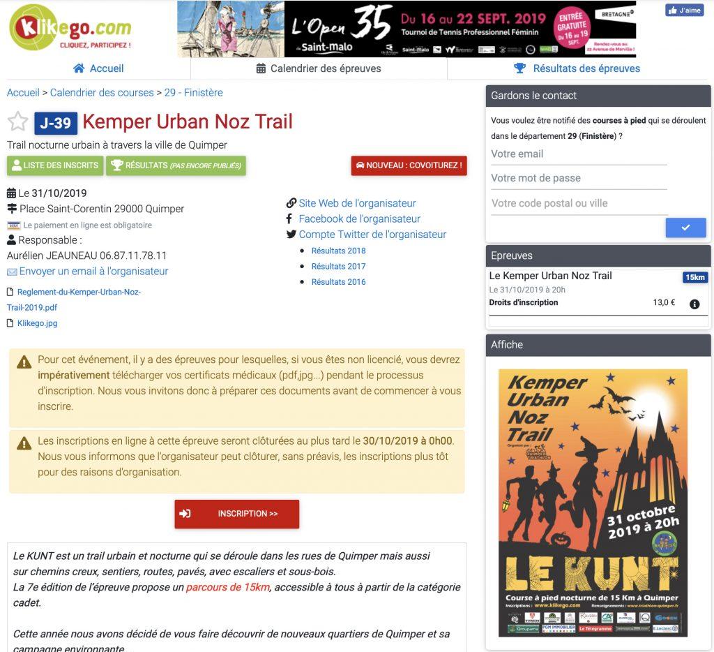 Calendrier Trail Finistere.7e Kemper Urban Noz Trail Jeudi 31 Octobre 2019 Site