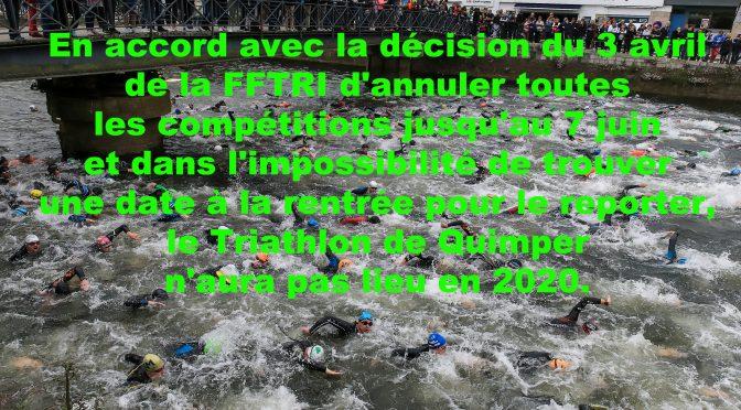 Le Triathlon de Quimper 2020 est annulé